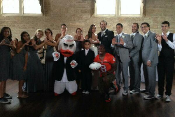 Star RB Duke Johnson and Miami Mascot Surprise Groom at Wedding