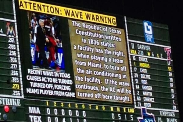 Texas Rangers Use LeBron James' 'Cramp Game' to Warn Fans Not to Do the Wave