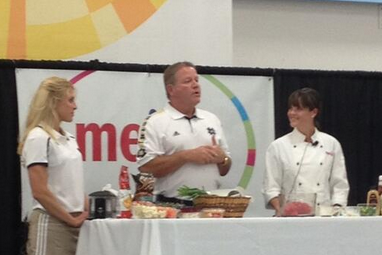 Football Players, Brian Kelly Showing off Cooking Skills at Meijer Today