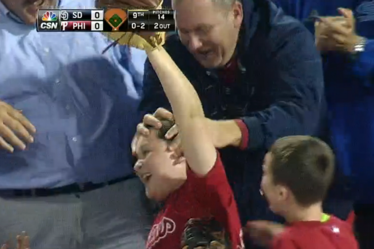 Young Phillies Fan Saves Another with Great Foul Ball Catch, Celebrates