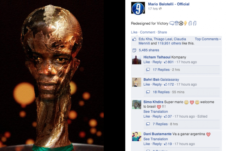 Mario Balotelli Brings You the World Cup Trophy Redesigned with His Own Face
