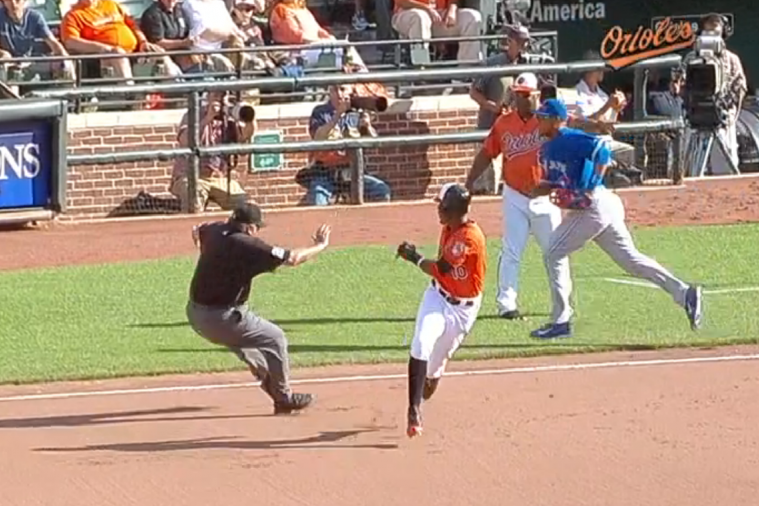 Orioles' Adam Jones Runs into Umpire While Trying to Go to Second Base