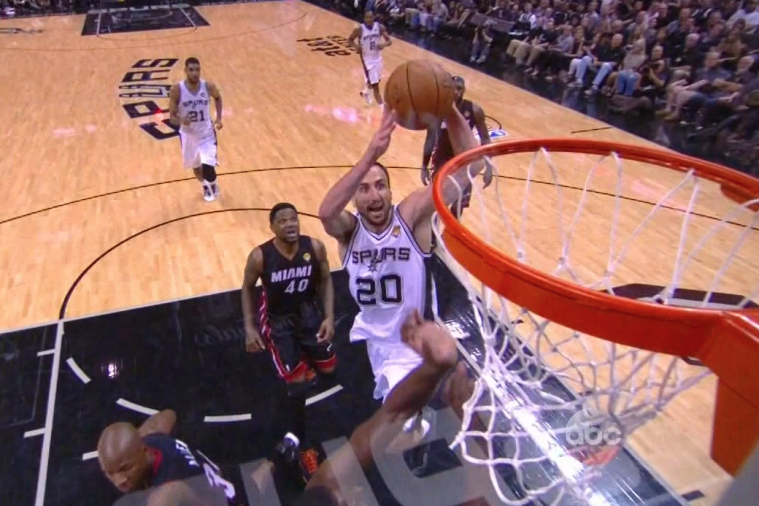 Spurs' Manu Ginobili Throws Down a Huge Dunk on Chris Bosh During Game 5