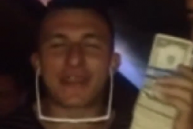 Johnny Manziel Clowns with Money Stack, Can't Hear You over All This Paper