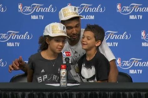 Tim Duncan's Kids Pay Their Dad Compliments During Championship Press Conference
