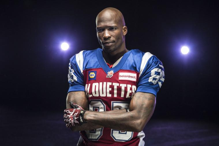 Chad Johnson Prepares for Action by Modeling Montreal Alouettes Uniform