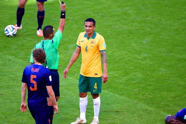 Twitter Reacts as Tim Cahill Picks Up Match Ban for Yellow Card vs. Netherlands