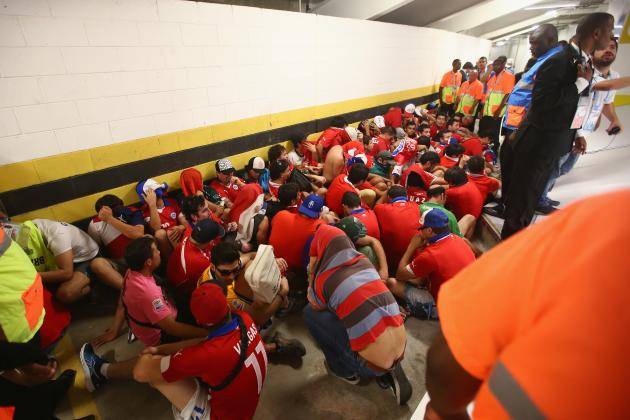 Chile Fans Storm Press Room at Maracana Before World Cup Match vs. Spain