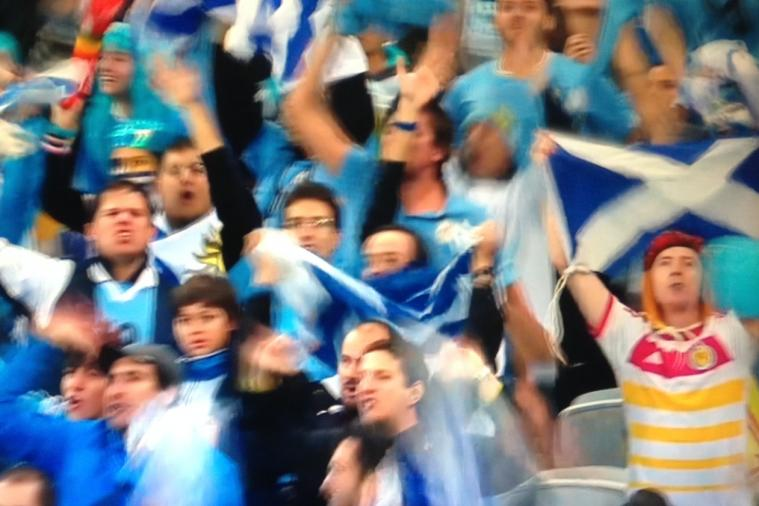Scotland Fan Enjoys Uruguay Beating England at 2014 World Cup