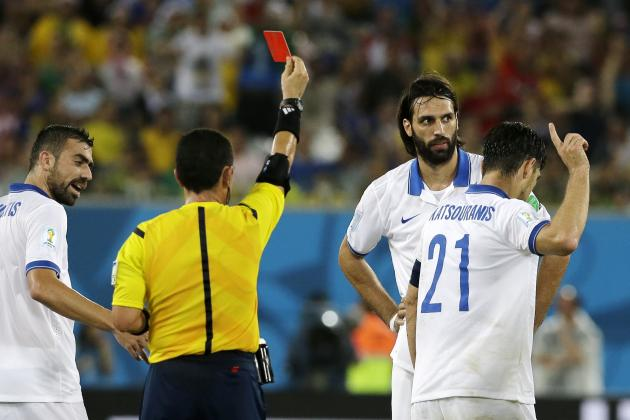 Twitter Reacts to Kostas Katsouranis' Red Card During Japan vs. Greece