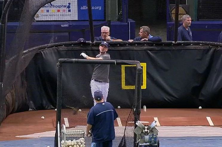 Rays' Matt Joyce Hits Ball Back into Pitching Machine During Batting Practice