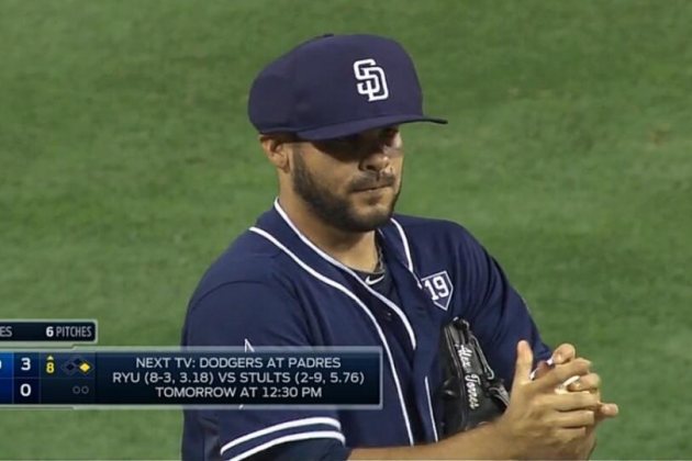 Alex Torres Wears Pitchers' Protective Cap in Relief Appearance vs. Dodgers