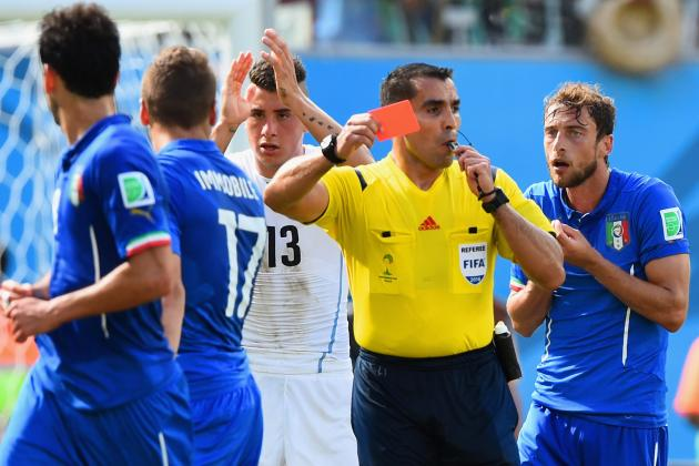 Twitter Reacts to Claudio Marchisio's Red Card vs. Uruguay in 2014 World Cup