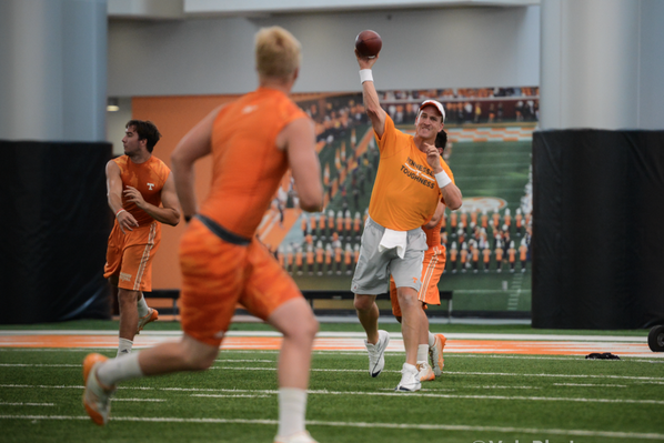 PHOTOS: Peyton Manning Works out with Vols, Praises Jones