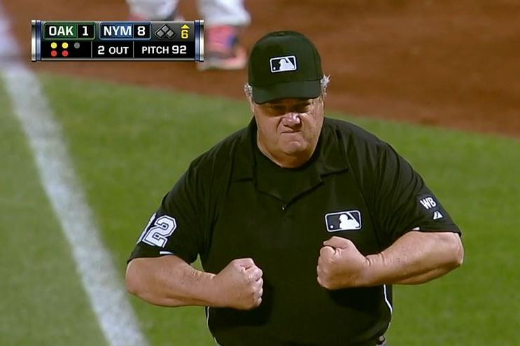 Umpire Joe West Gets Drilled by a Foul Liner, Shows His Toughness by Flexing