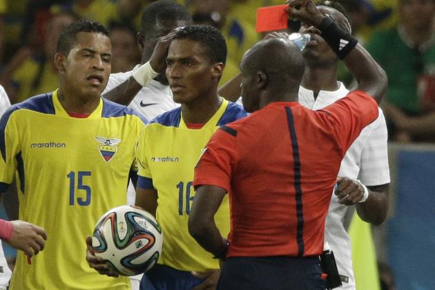 Twitter Reacts to Antonio Valencia's Red Card vs. France in 2014 World Cup