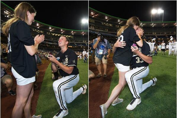 Vanderbilt Pitcher Proposes to Girlfriend After Winning College World Series