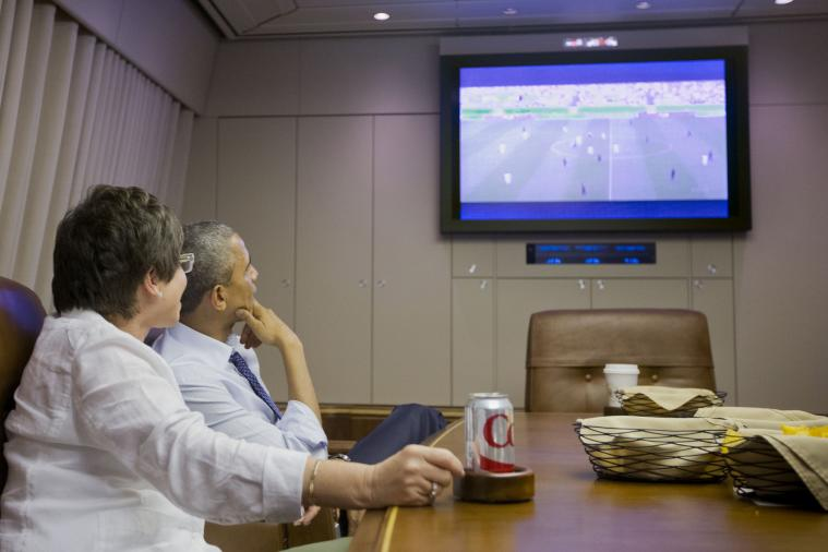 President Barack Obama Watches USA-Germany World Cup Game Aboard Air Force One