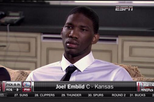 Joel Embiid's Reaction at Going No. 3 to Philadelphia Leads to Awkward Moment