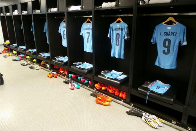 Uruguay Have Luis Suarez's Shirt Up in Their Dressing Room