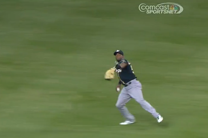 Athletics' Yoenis Cespedes Throws Out Another Runner at Home vs. Marlins