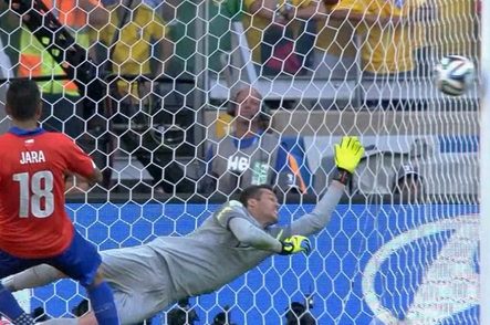 Chile's Gonzalo Jara Misses Final Penalty Kick off Post to Give Brazil Win