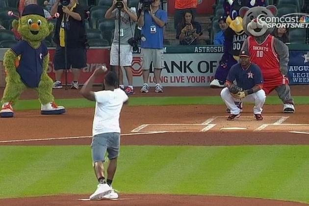 James Harden Throws Out 1st Pitch Before Tigers-Astros Game