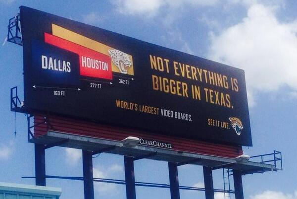 Jaguars' Billboard Lets Cowboys and Texans Know Who Has Biggest Video Board