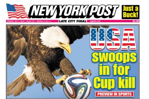 Front Covers of USA and Belgium Newspapers Ahead of World Cup Game