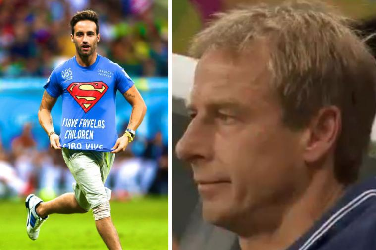 Pitch Invader Interrupts Belgium vs. USA World Cup Clash in Protest