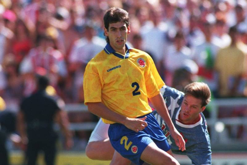 22 JUN 1994: ANDRES ESCOBAR #2 OF COLOMBIA IN ACTION SHIELDS THE BALL FROM