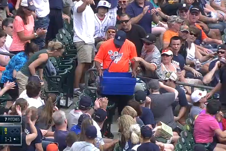 Detroit Tigers Vendor Catches Foul Ball in Bucket During Oakland Athletics Game