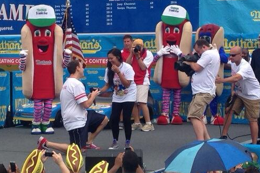 Joey Chestnut Proposes to Girlfriend Onstage at Nathan's Hot Dog Eating Contest