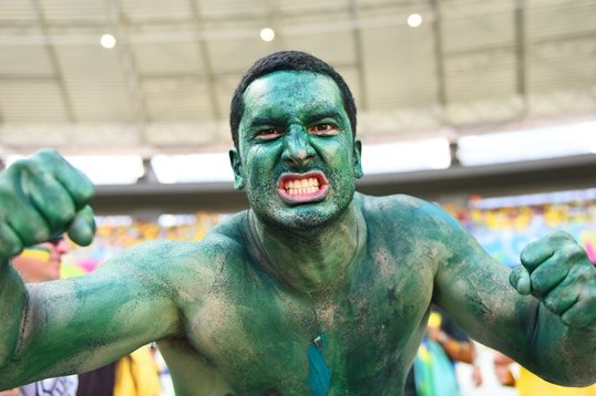 Buff Brazil Fan at 2014 FIFA World Cup Is a True Hulk Fan