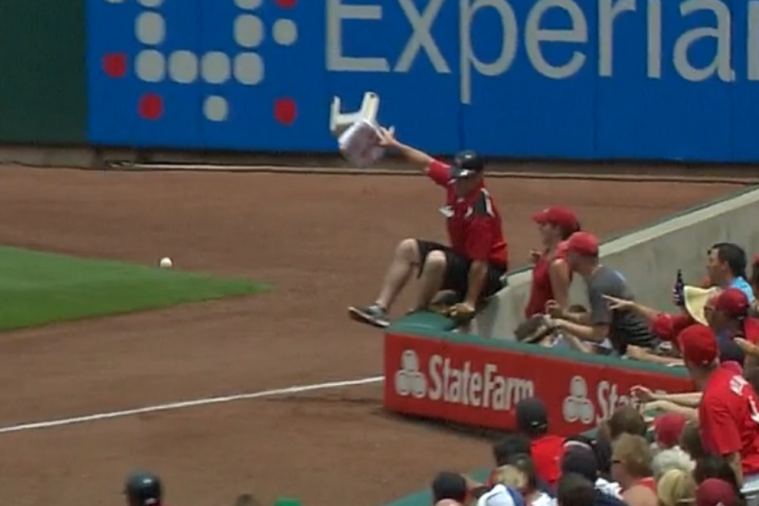Cardinals Ball Boy Jumps into Stands to Avoid Foul Ball