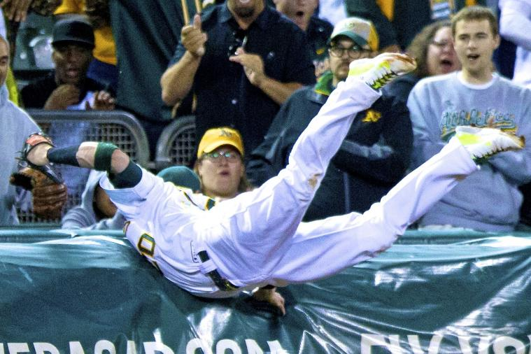Athletics' Josh Donaldson Makes Running Catch into Tarp vs. Blue Jays