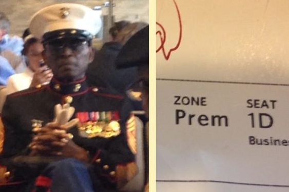 Carolina Panthers RB DeAngelo Williams Gives Up Business-Class Seat for Marine