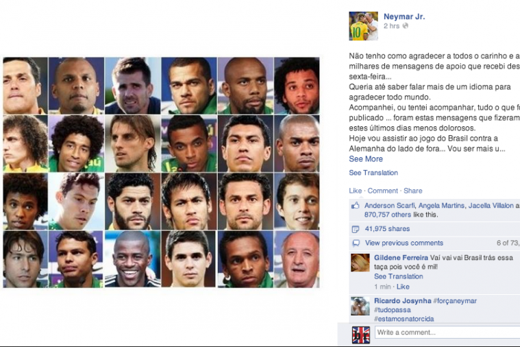 Neymar's Facebook Message for Brazil Ahead of the World Cup Semi-Final