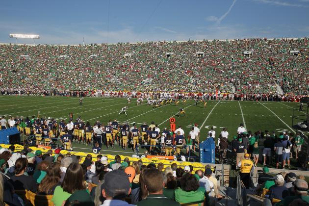 Watch: Notre Dame Stadium FieldTurf Install in Progress