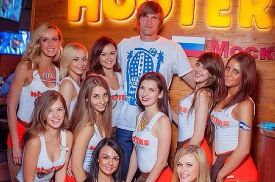 Kirilenko Hangs out with Hooters Waitresses