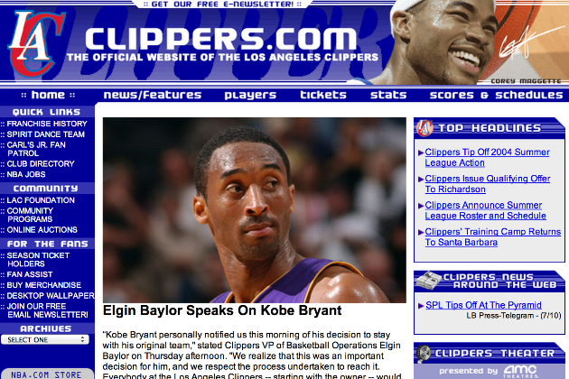 Throwback Thursday: A Look Back at NBA Teams' Websites in 2004