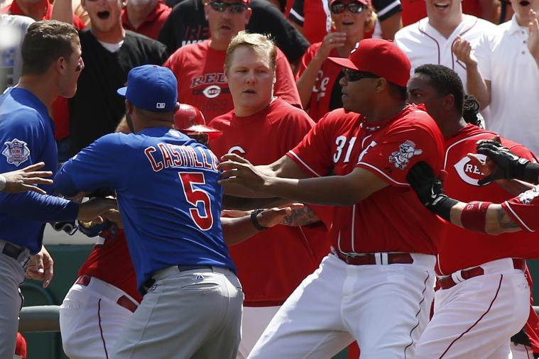 Benches Clear During Reds-Cubs with Aroldis Chapman on the Mound
