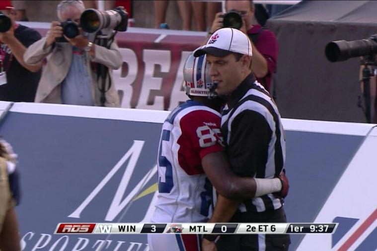 Chad Johnson Hugs Referee After Scoring His 1st CFL Touchdown
