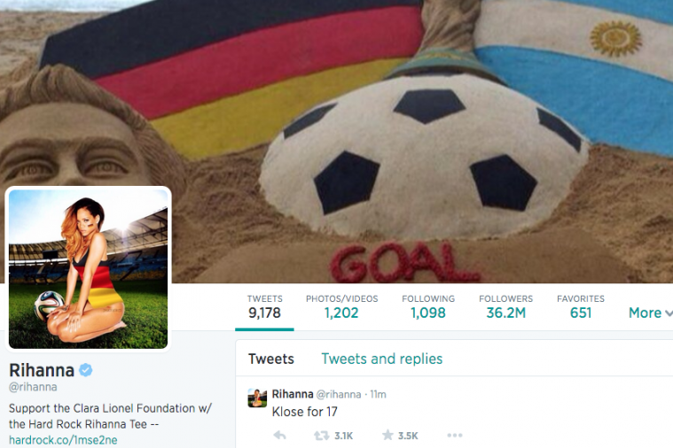 Rihanna Changes Twitter Avatar to Show German Support in World Cup