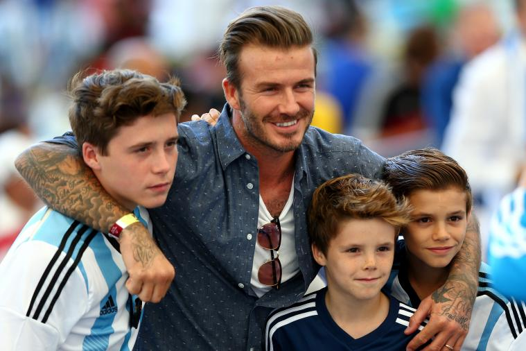David Beckham Takes in World Cup Final, Kids Pull for Argentina