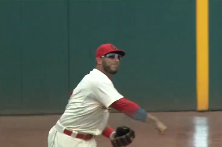 Indians' Mike Aviles Makes Great Catch, Guns Out Runner at First from Left Field