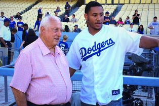 Malcolm Smith Throws First Pitch for Los Angeles Dodgers...