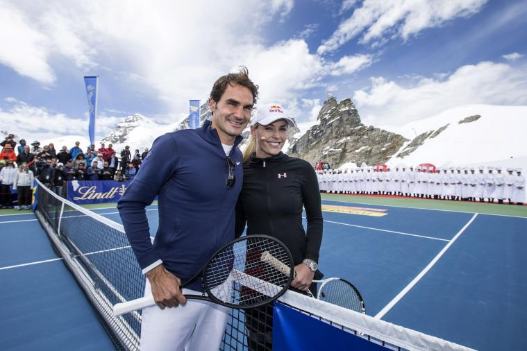Roger Federer Played Lindsey Vonn at Tennis in the Swiss Alps
