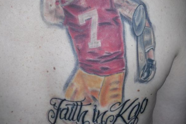 Fan Gets Large Back Tattoo of 49ers QB Colin Kaepernick Kissing His Bicep