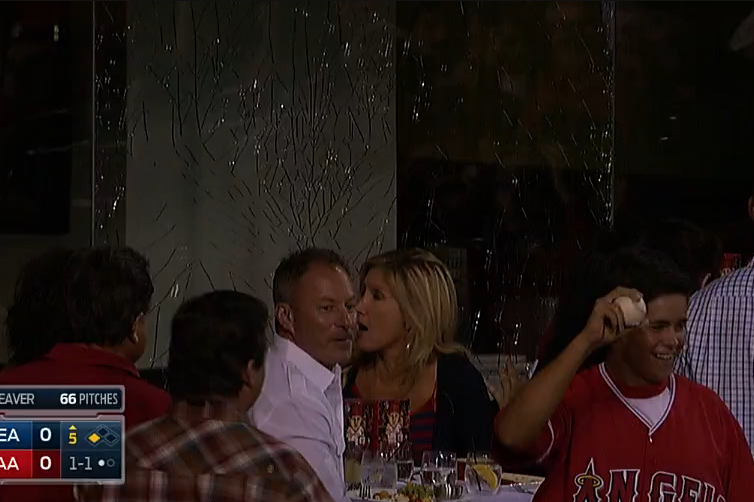 Foul Ball Shatters Glass, Angels Fan Enjoying Dinner Wants the Check